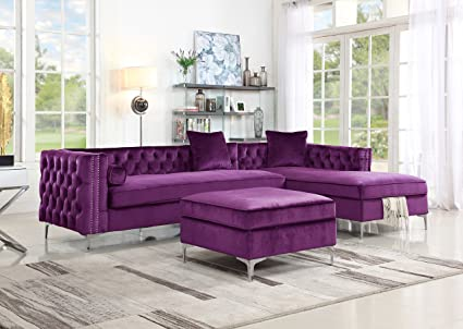 Charmant Iconic Home Melvin Modern Contemporary Velvet Square Storage Ottoman, Plum