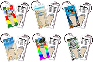 product image for Cozumel FootWhere Souvenir Keychains. 6 Piece Set. Authentic Destination Souvenir acknowledging Where You've Set Foot. Genuine Soil of Featured Location encased Inside Foot Cavity. Made in USA.