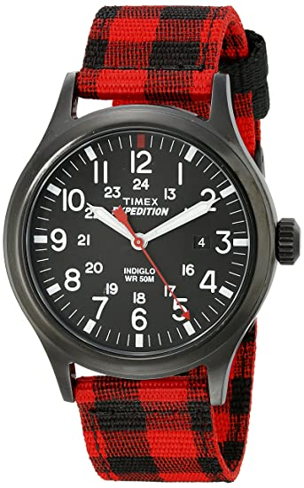 Timex Expedition - Reloj análogico de cuarzo con correa de nailon para hombre, Rojo (