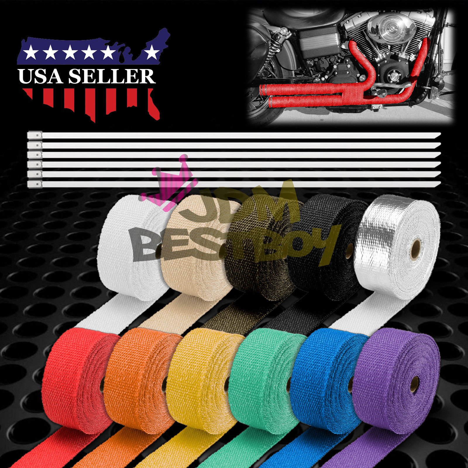 Titanium Exhaust Pipe Insulation Thermal Heat Wrap 2'' x 50' Car Motorcycle Header Protection Fiberglass Heat Shield 6x Stainless Ties