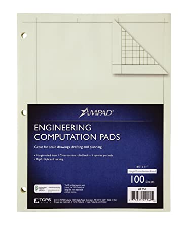 Amazon.com : Ampad Evidence Engineering Pad, 100 Sheets, 5 Squares ...