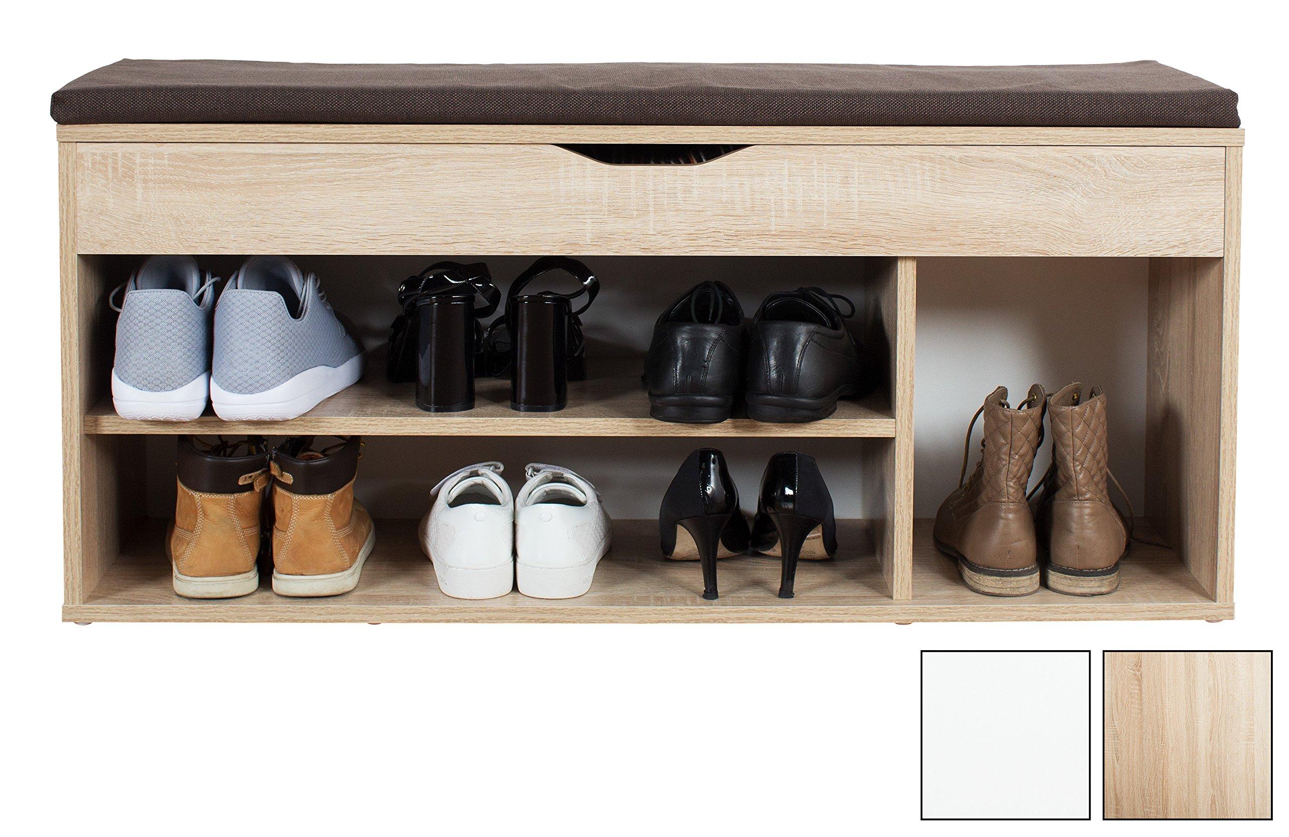 Geräumig Schuhschrank Stiefel Sammlung Von Finebuy Schuhbank Luisa Sonoma Eiche Für 10