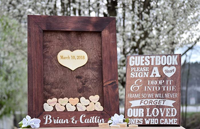 Amazon.com: Wedding Guest Book Drop Box - Guest Book Frame - Wedding ...