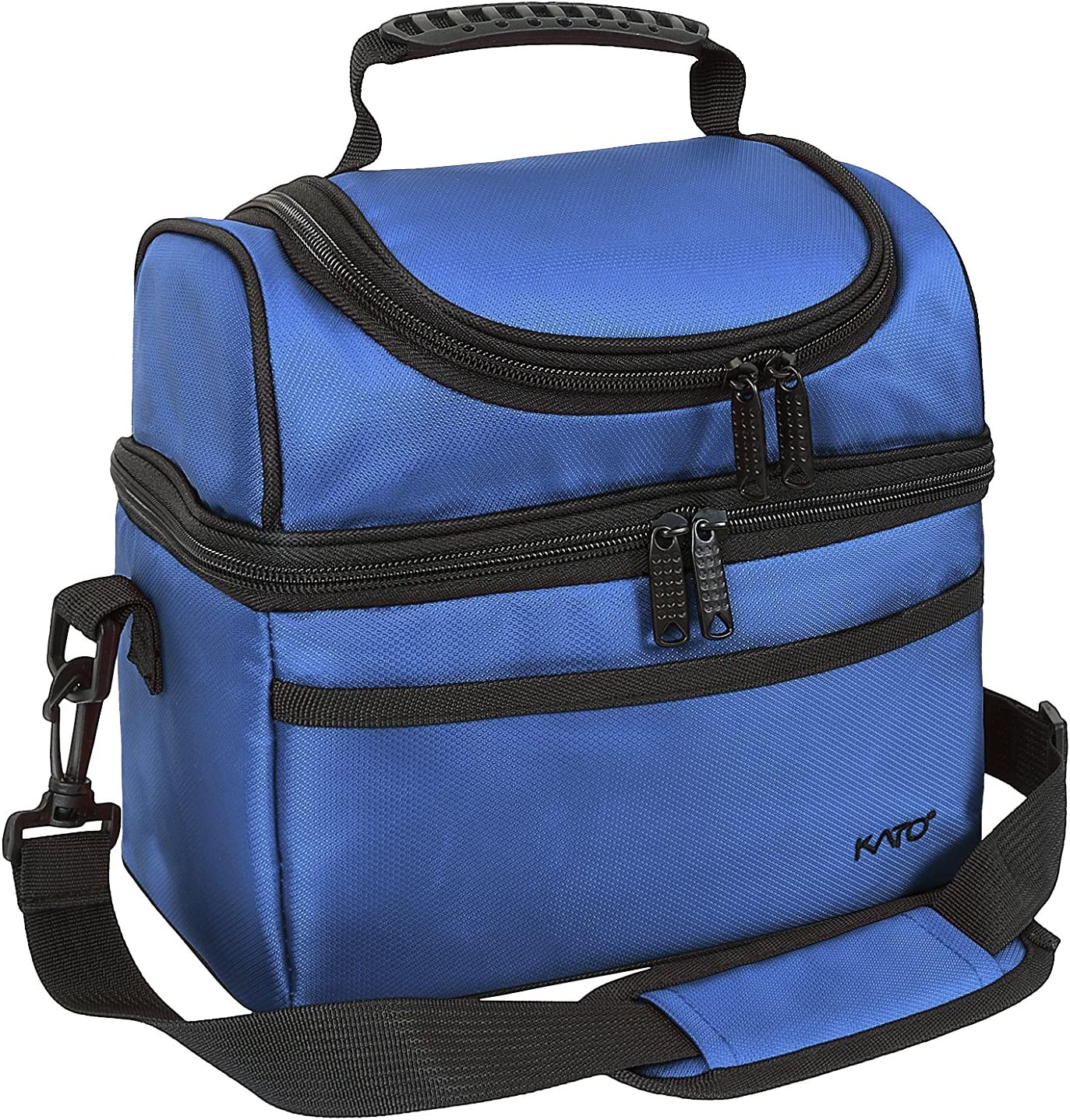 Kato Insulated Lunch Bag, Leakproof Bento Cooler Tote Lunch Box for Men and Women, Dual Compartment with Shoulder Strap, Blue