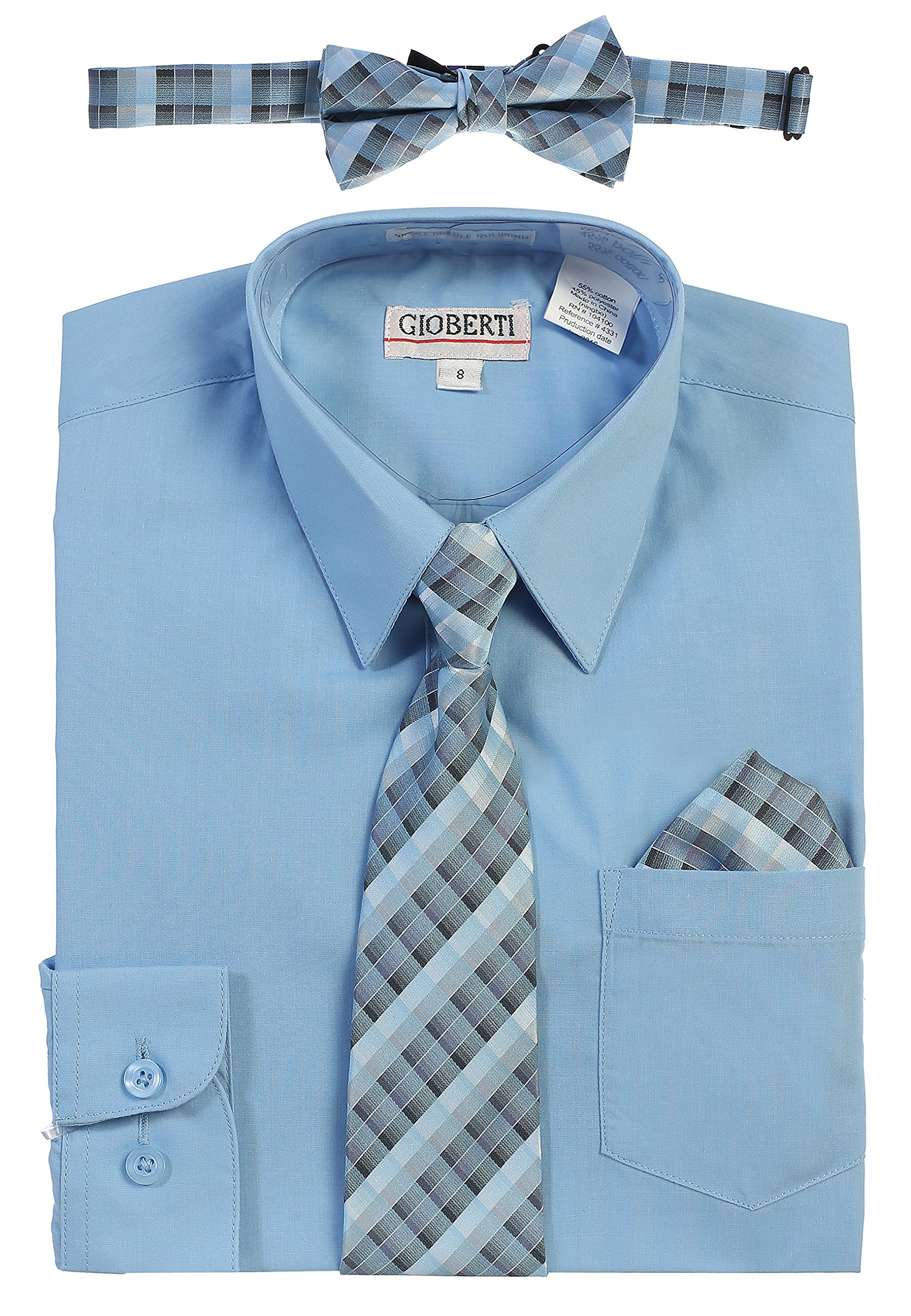 Gioberti Boy's Long Sleeve Dress Shirt and Plaid Tie Set, Sky Blue, Size 7 by Gioberti