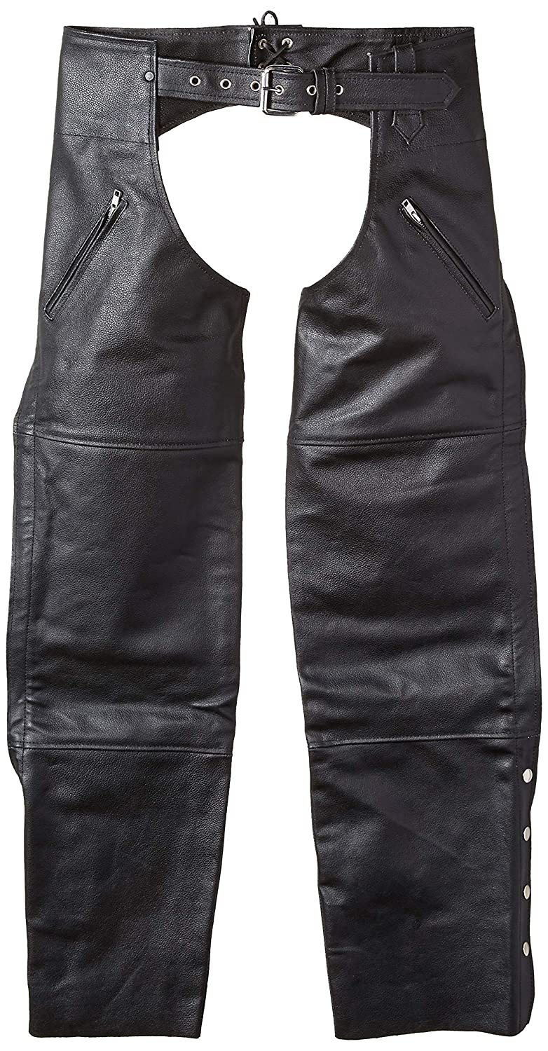 Nomad USA Deep Pocket Elastic Fit Motorcycle Leather Chaps (XL) TN-NO106R