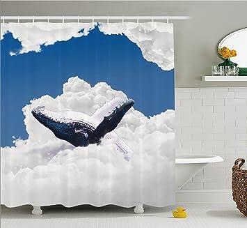 Animal Decor cortina de ducha por Ambesonne, gigante criatura de los océanos Big blanco flotadores de ...