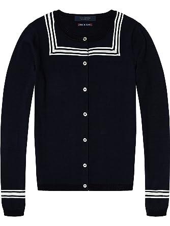 Scotch   Soda Maison Women s Basic Cardigan with Sailor Detailling, Blue  (Navy 57) acf3a5300a8b