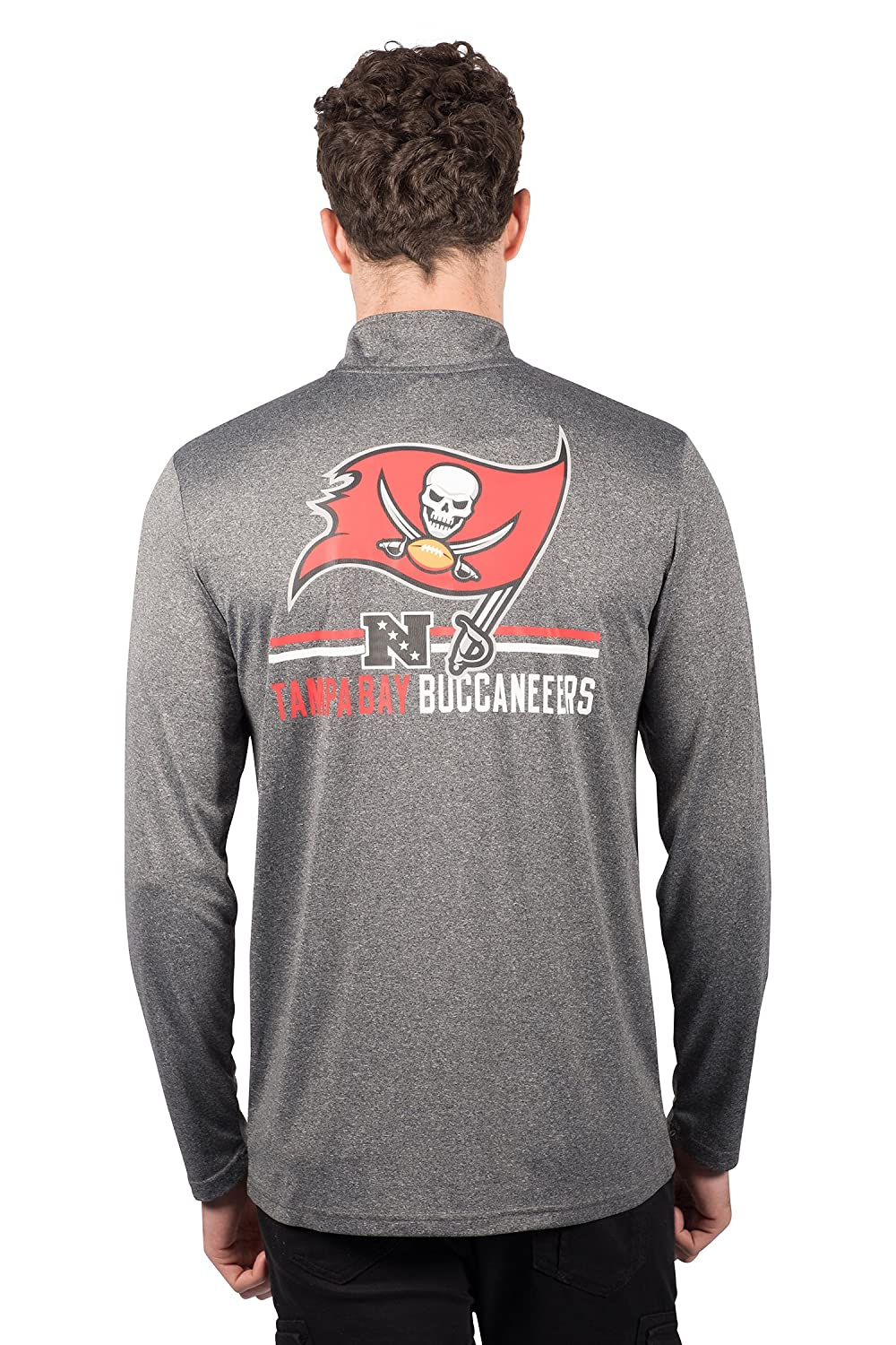 Heather Charcoal 18 NFL Tampa Bay Buccaneers Ultra Game Mens LS POLY Quarter ZIP TEE Large