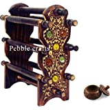 PEBBLE CRAFTS Wooden Bangle Holder Jewellery Stand with 6 Rods and Sindoor Box