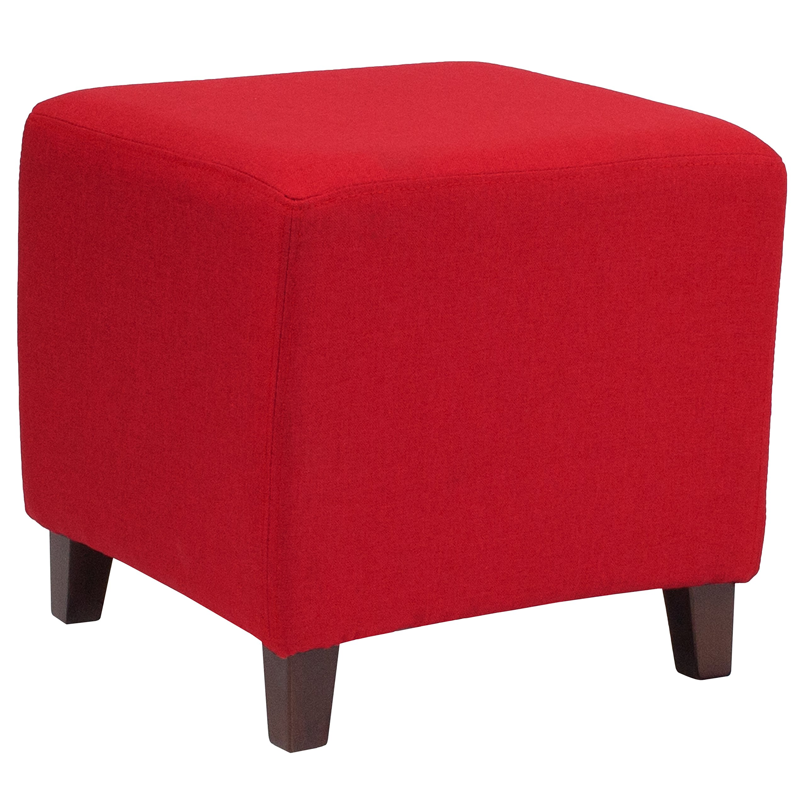 Flash Furniture Ascalon Upholstered Ottoman Pouf in Red Fabric