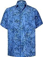 *La Leela* Spiaggia Tasto Hawaiano Annata Degli Uomini del Cotone Giù Manica Corta Camicia Blu