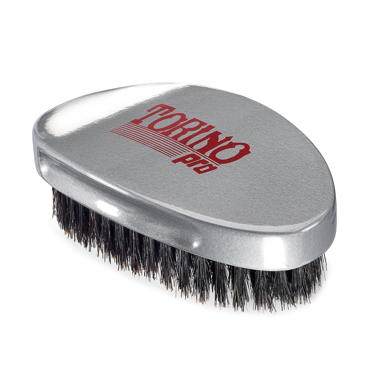 Torino Pro Medium Wave Brush #530 By Brush King - Curve Palm Wave Brush - Made with 100% Boar Bristles -True Texture Medium - All Purpose 360 Waves Brush