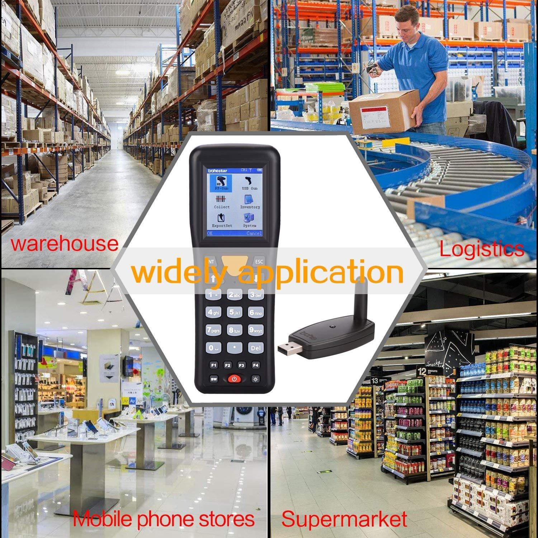 Trohestar Lettore di Codici a Barre Wireless NS-3303 Portata 100 m. 433Mhz 1D Barcode Scanner con Ricevitore USB con Schermo a Colori TFT LCD
