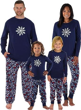 Sleepyheads Sets Familiares de Pijamas de Invierno para Navidades a Juego Azul Marino con Copos de Nieve