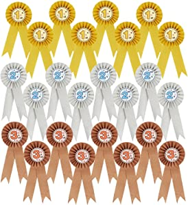 24-Pack Award Ribbons - Participation Decorations, Rosette Ribbons, 1st, 2nd, and 3rd Place Recognition Awards for Spelling Bees, Science Fairs, Talent Shows, Gold, Silver, Bronze
