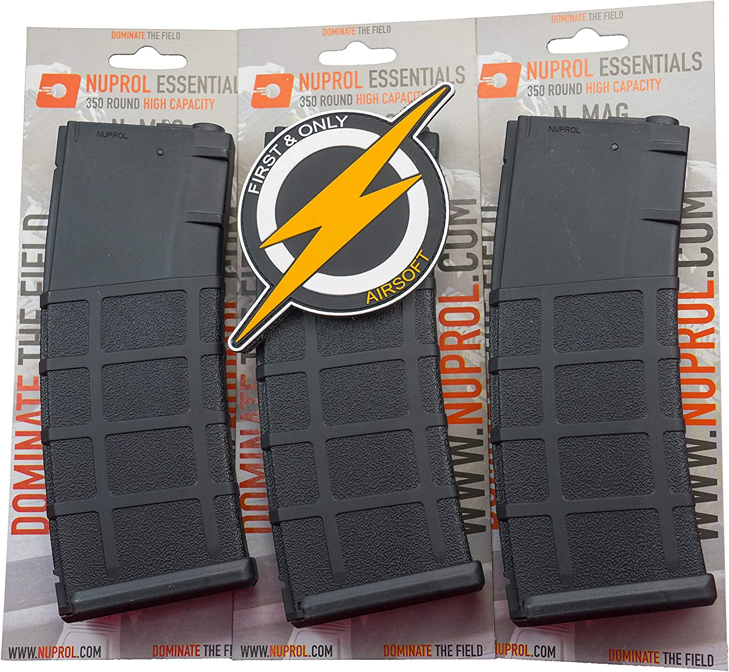 Negro y Parche de First and Only Retail NUPROL Triple Pack de Gran Capacidad Airsoft Magazine 350 Round M4.