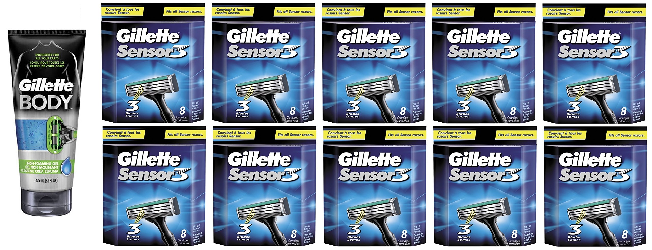 Gillette Body Non Foaming Shave Gel for Men, 5.9 Fl Oz + Sensor3 Refill Blades 8 Ct. (10 Pack) + FREE Luxury Luffa Loofah Bath Sponge On A Rope, Color May Vary