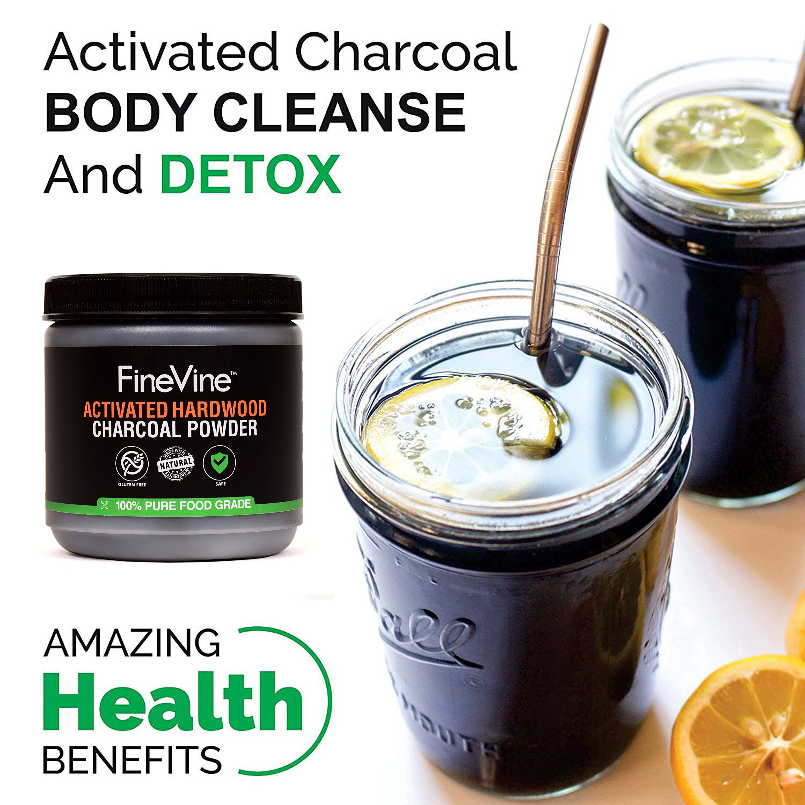 Activated Hardwood Charcoal Powder - Made in USA - Food Grade for Detox, Teeth whitening, Face Mask, Helps Digestion, Bug Bites, Treats Poisoning and Wounds. by FineVine (Image #5)
