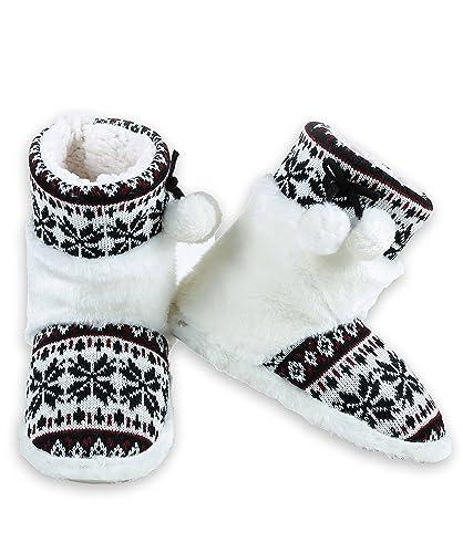 Women's Faux Fur Fair Isle Sweater Knit Bootie Slipper