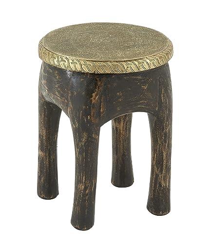 Enjoyable Amazon Com Plutus Brands Antique Wood Brass Foot Stool 14 Ibusinesslaw Wood Chair Design Ideas Ibusinesslaworg