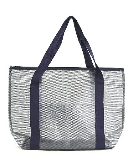 cf10c3524b42 Amazon.com  Practical PVC and Mesh Beach Tote Bag Swimming Tote Bag  Shoulder  Tote Bag