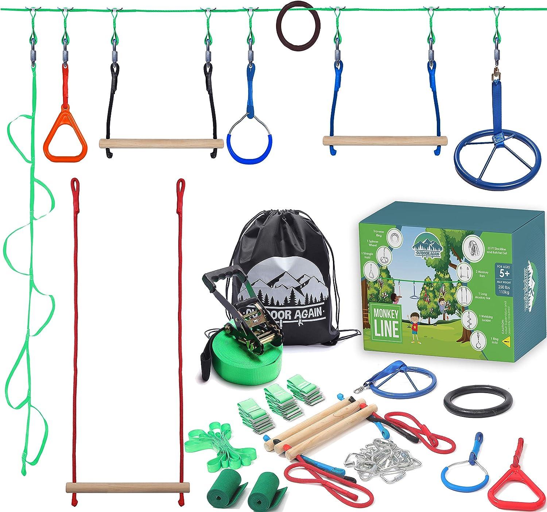 Ninja Warrior Obstacle Course for Kids 55' Feet - 9 Obstacles | Ninja Warrior Training Equipment for Kids | Backyard Ninja Slack Line with Monkey Bars for Outdoor Play | Ninja Course for Kids Outside…