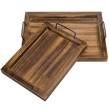 MyGift Set of 2 Country Rustic Burnt Wood Finish Rectangular Nesting Serving Trays w/Metal Handles