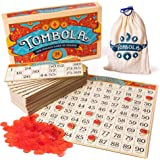 Tombola Bingo Board Game | The Italian Game of Chance for Family, Friends and Large Parties Up to 24 Players! | Includes Calling Board, 90 Tombolini Tiles, 24 Double-Sided Cards and 360 Chips