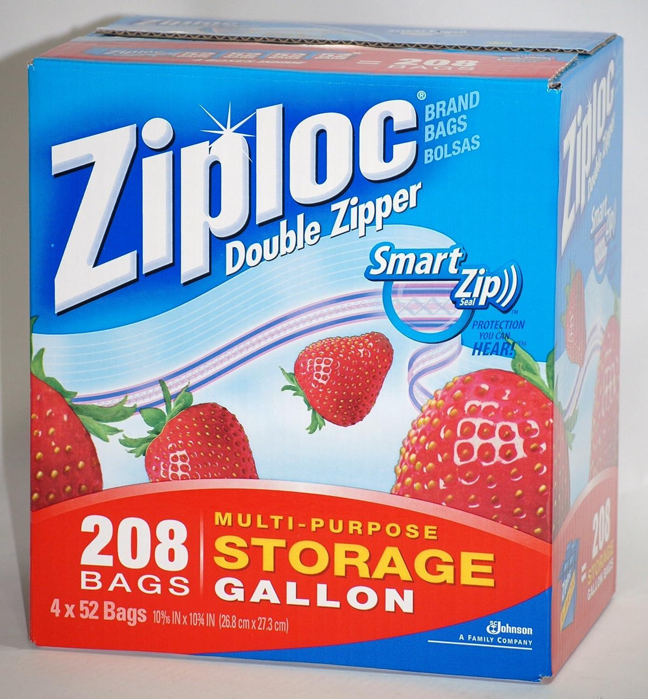 Ziploc Double Zipper Smart Zip Seal Multi-Purpose Storage Gallon - 208 Bags (4 x 52 Bags)