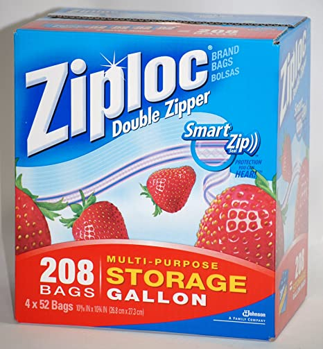 Ziploc Double Zipper Smart Zip Seal Multi-Purpose Storage Gallon - 208 Bags (4 x 52 Bags)