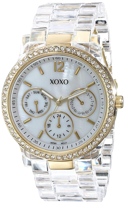 XOXO Women s XO5527 Clear Bracelet with Rhinestones on Gold Case Watch