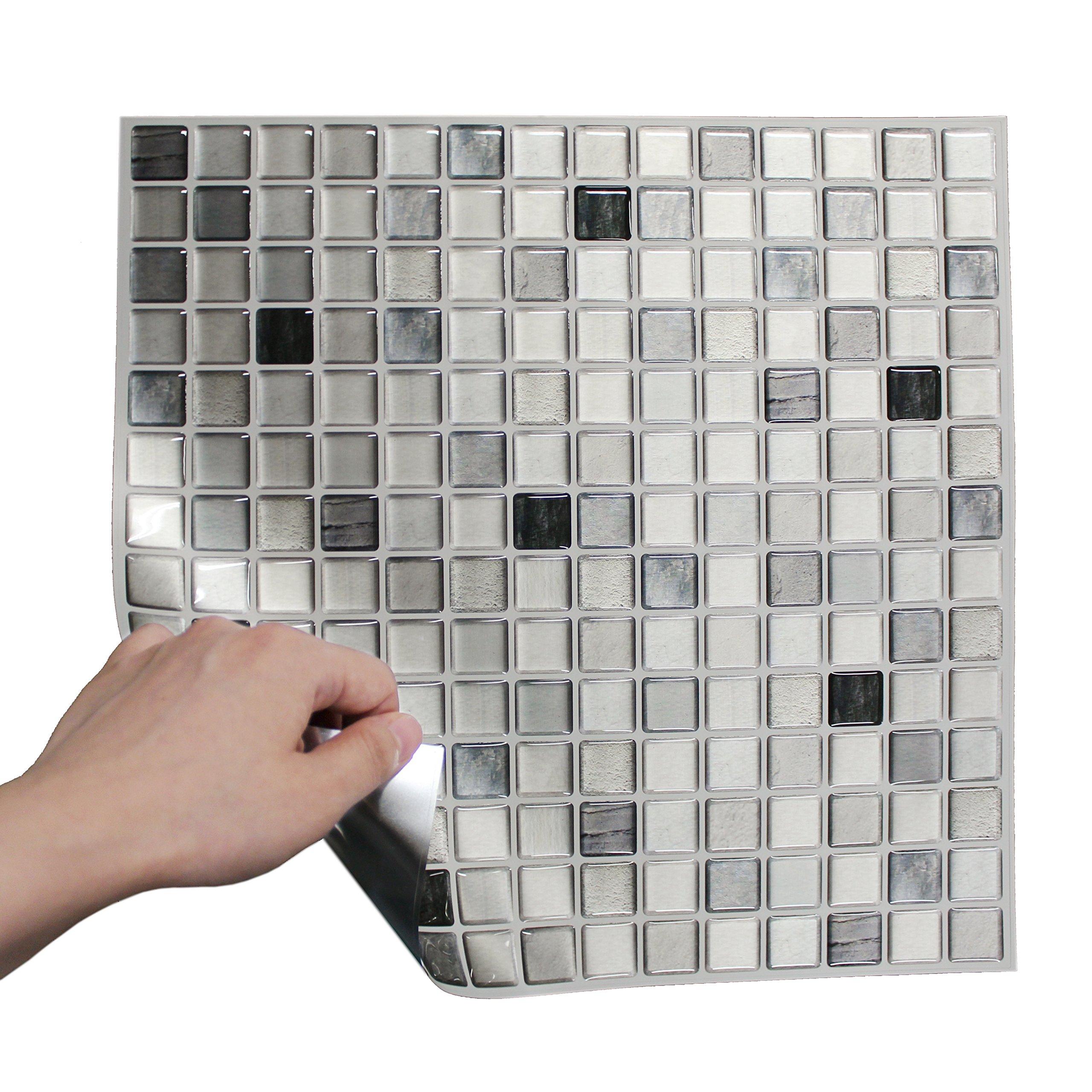 BEAUSTILE Decorative Tile Stickers Peel Stick Backsplash Fire Retardant Tile Sheet (Monocrome) (10, 12.2'' x 12.2'') by BEAUS TILE (Image #5)