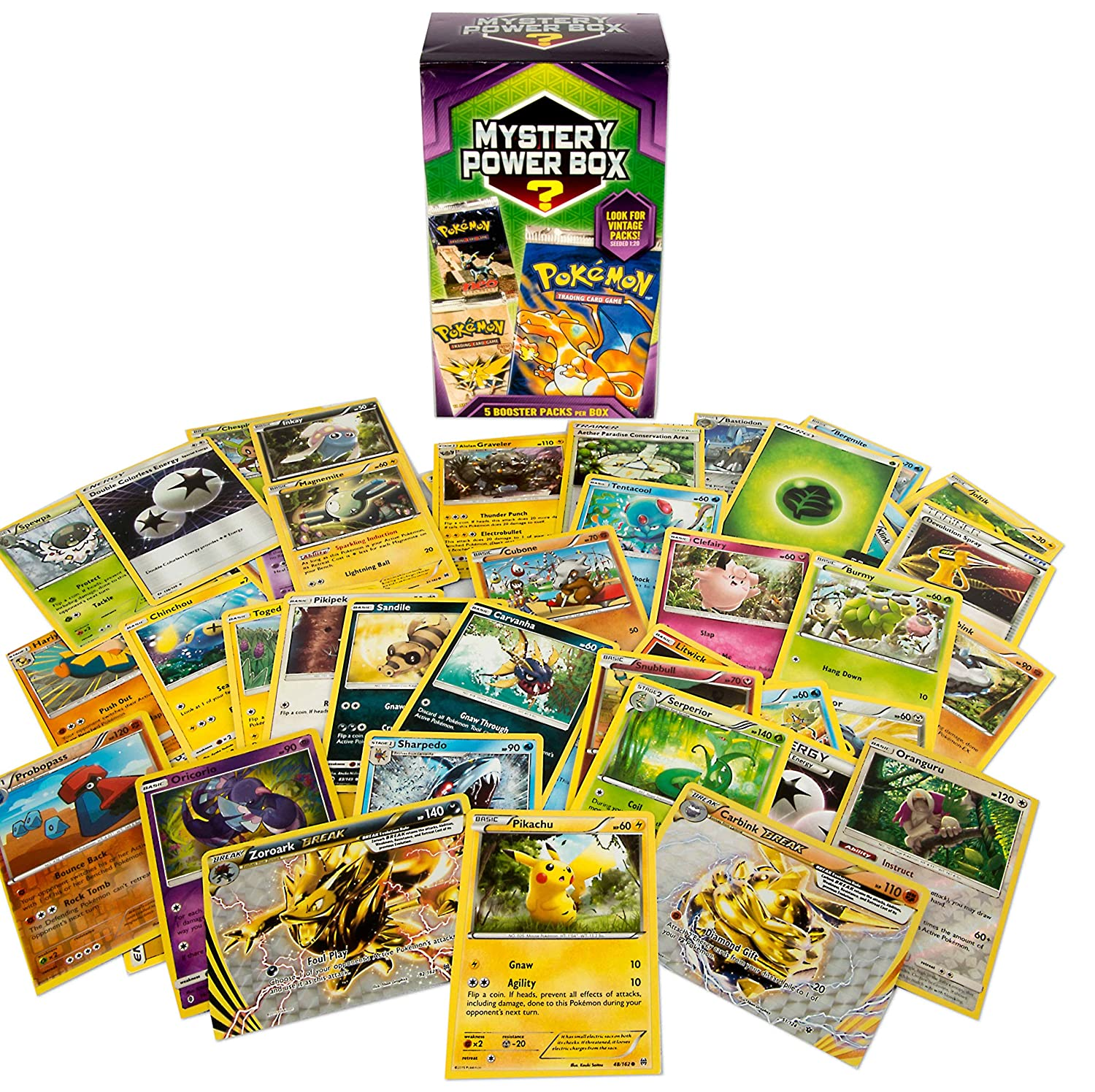Masywnie Amazon.com: Pokemon Cards Mystery Power Box 5-5 Booster Pack: Toys CV71