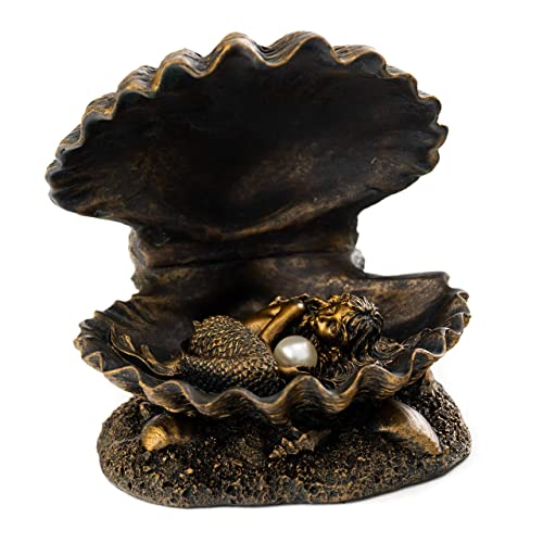 Top Collection Baby Mermaid Statue- Mermaid Sleeping in Shell with Pearl Sculpture- Hand Painted with Bronze Finish Look- 4-Inch Figurine