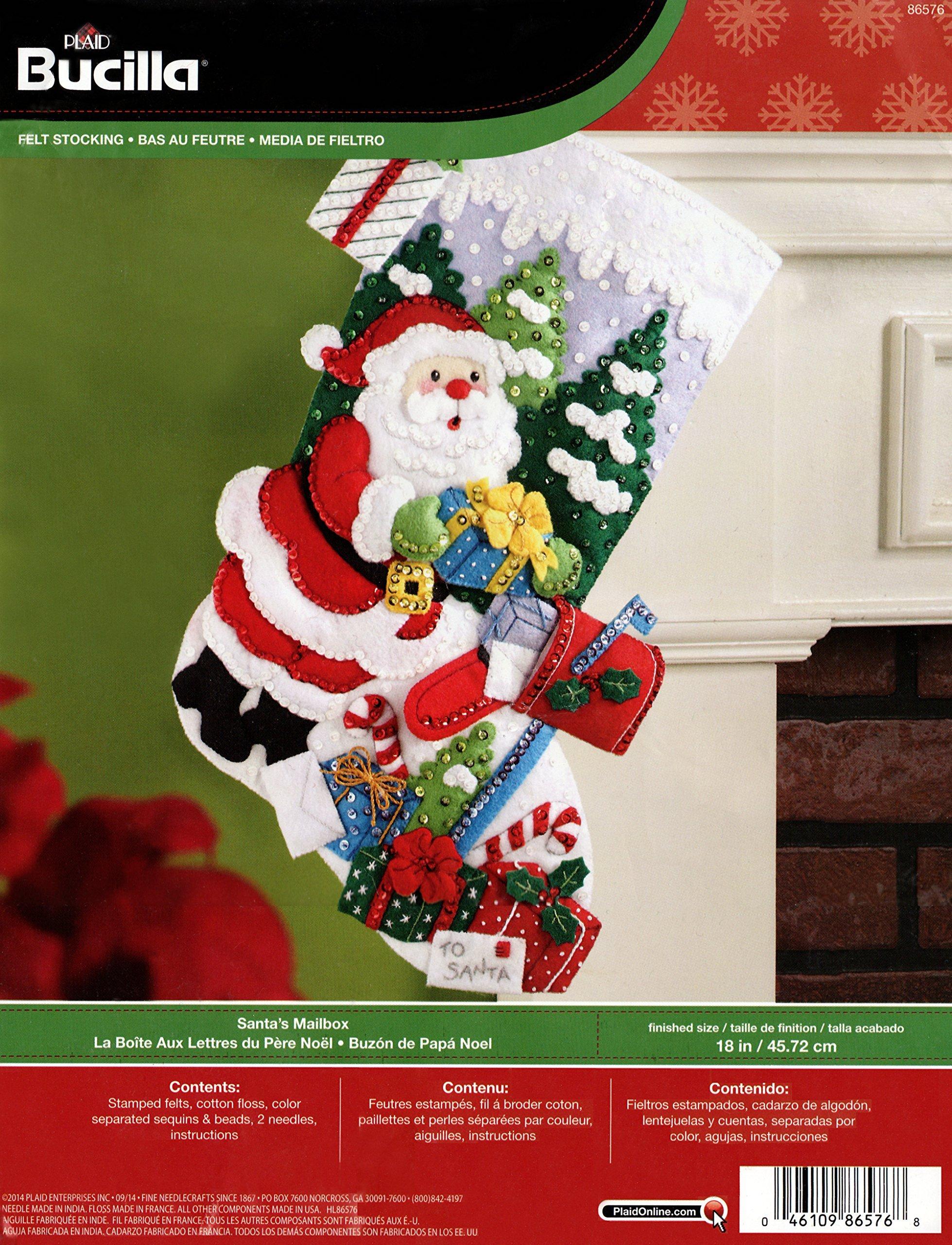 Bucilla 18-Inch Christmas Stocking Felt Applique Kit, 86576 Santas Mailbox product image