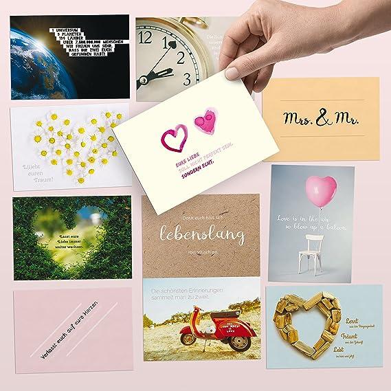 52 Postkarten für die Hochzeit – liebevoll gestaltetes Hochzeitsgeschenk: Jede Woche eine DIN A6 Karte als Gästebuch-Alternat