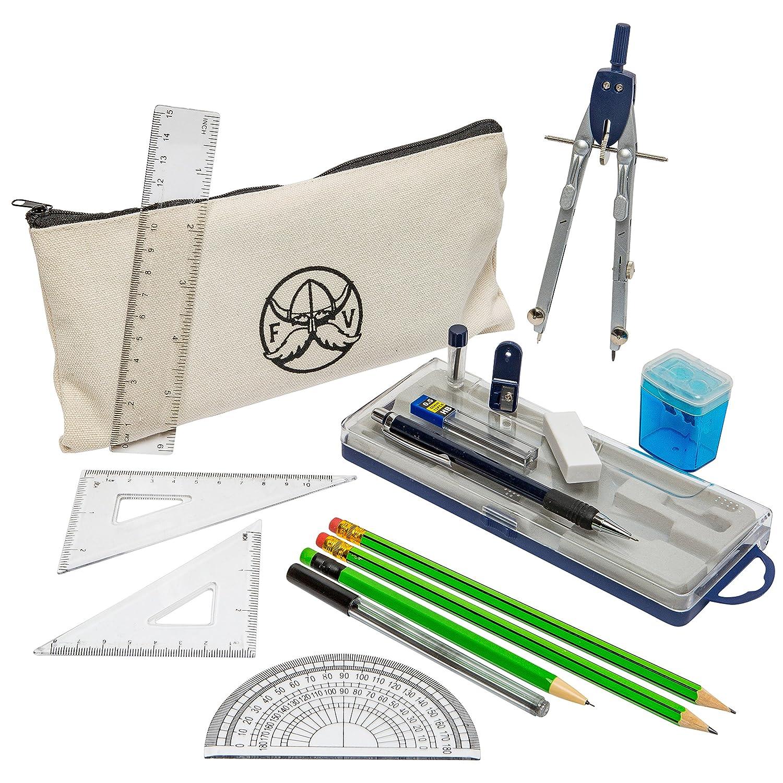 Ferocious Viking Products 16 pezzi geometria scuola Set con qualità Bussola