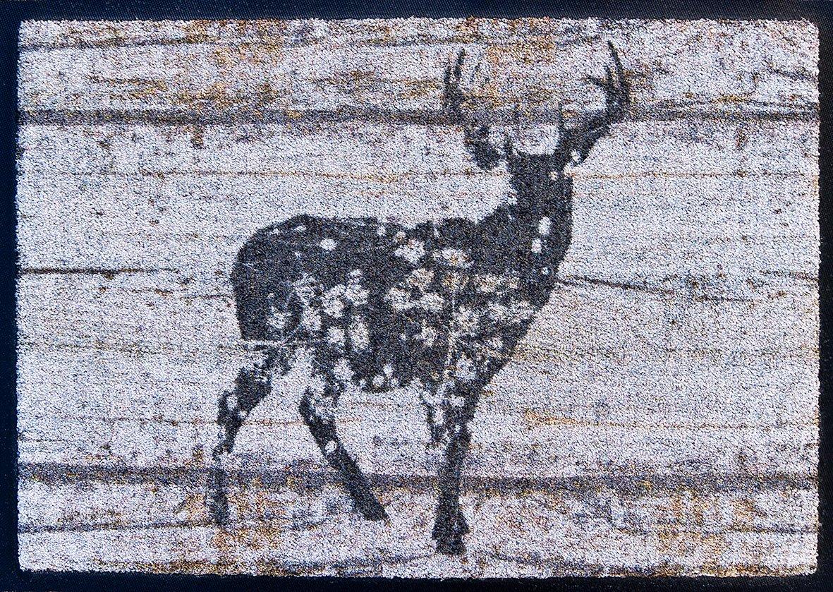 Akzente Wolf Fußmatte Easy-Clean Hirsch auf Holz antik grau 50x70 cm