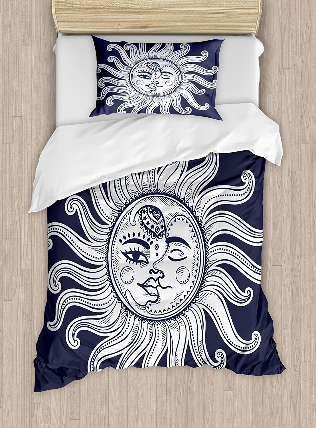 Ambesonne Sun and Moon Duvet Cover Set, Love and Romance in Sky Eclipse at Midnight Themed Folk Elements Vintage, Decorative 2 Piece Bedding Set with 1 Pillow Sham, Twin Size, Blue White