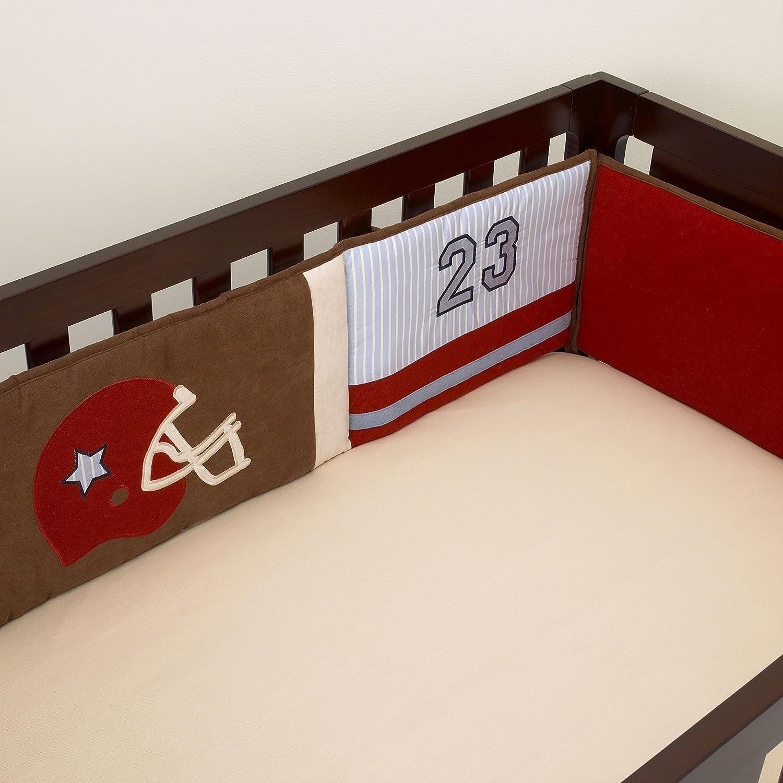 Navy//Blue//Red//Grey Little Love by NoJo Multi Dash Print 4 Piece Nursery Crib Bumper