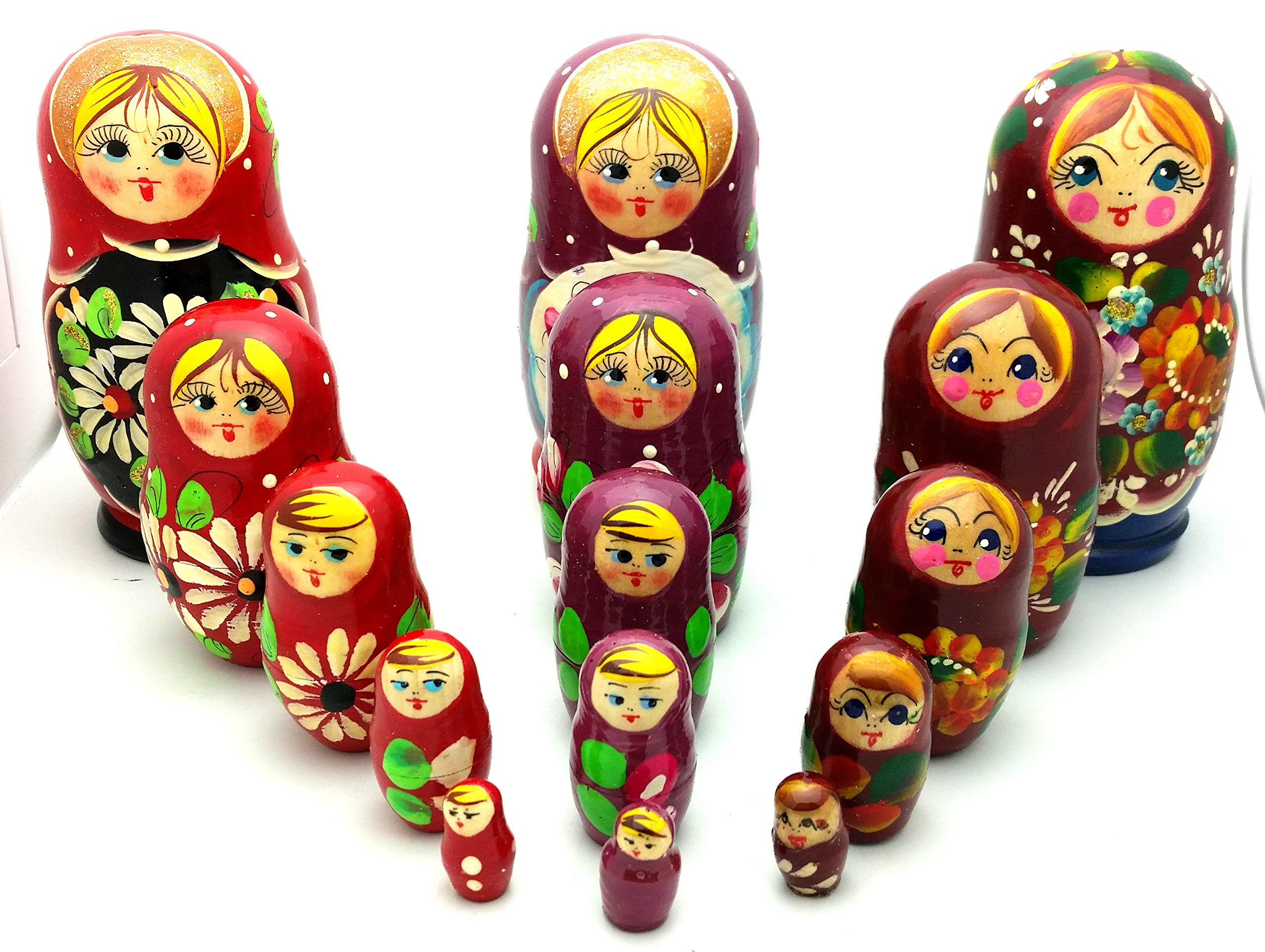 Lot of 3 Sets Russian Traditional Nesting Stacking Wooden Dolls Each Matryoshka Babushka set contains 5 dolls by BuyRussianGifts (Image #1)