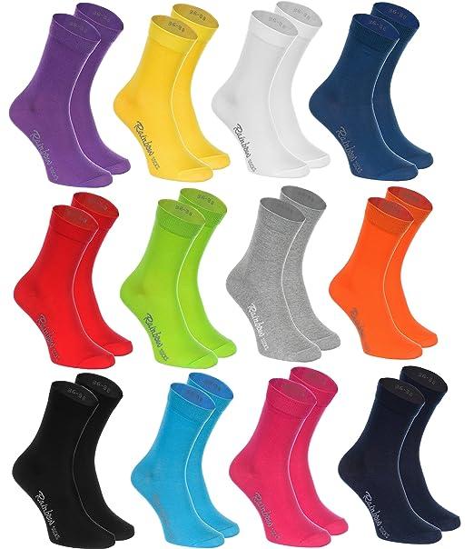 12 pares de Calcetines de algodón en 12 colores de moda producidos en la UE,