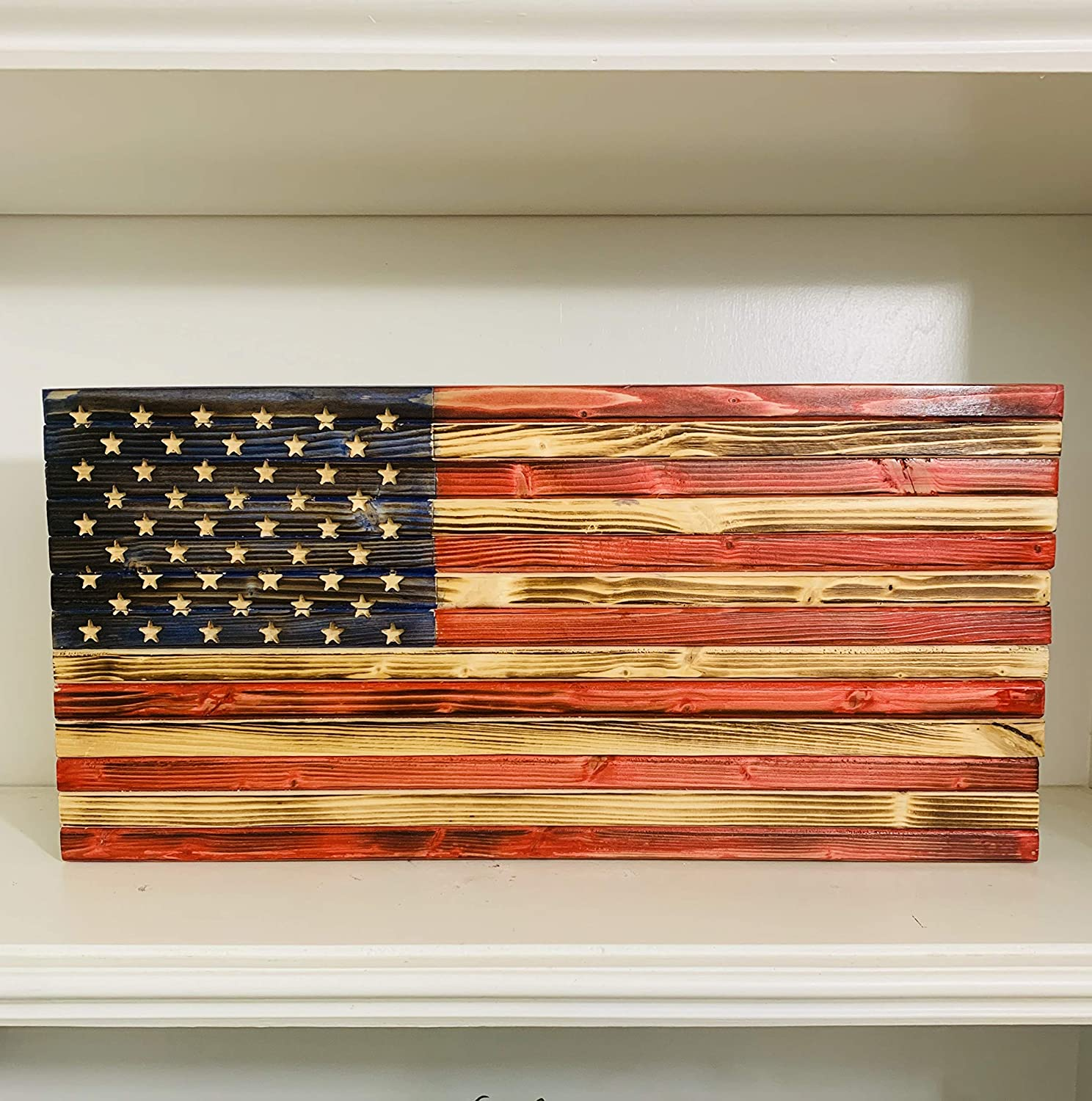 Rustic Handmade Wooden American Flag Made of Natural Pine Wood in the USA, indoor/Outdoor Patriotic Home Decor 18.5 X 9 X 1.5 Inch Ideal for Home or Office