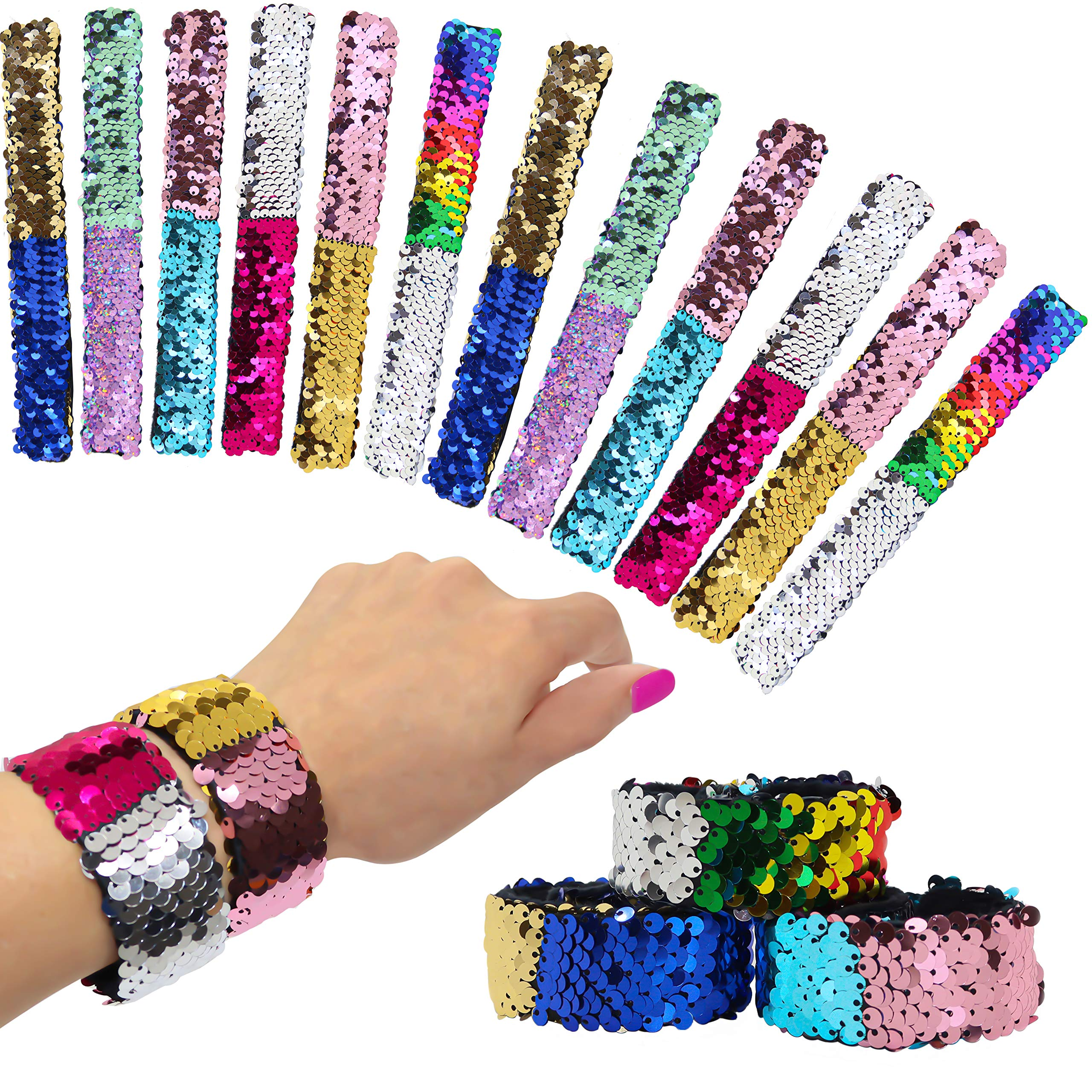 12 Pcs Reversible Sequins Slap Bracelets for Kids - Mermaid Style Magic Flip Sequin Snap Bracelet Set - Great Birthday Party Favors, Holiday Stocking Stuffers for Little Girls by FROG SAC