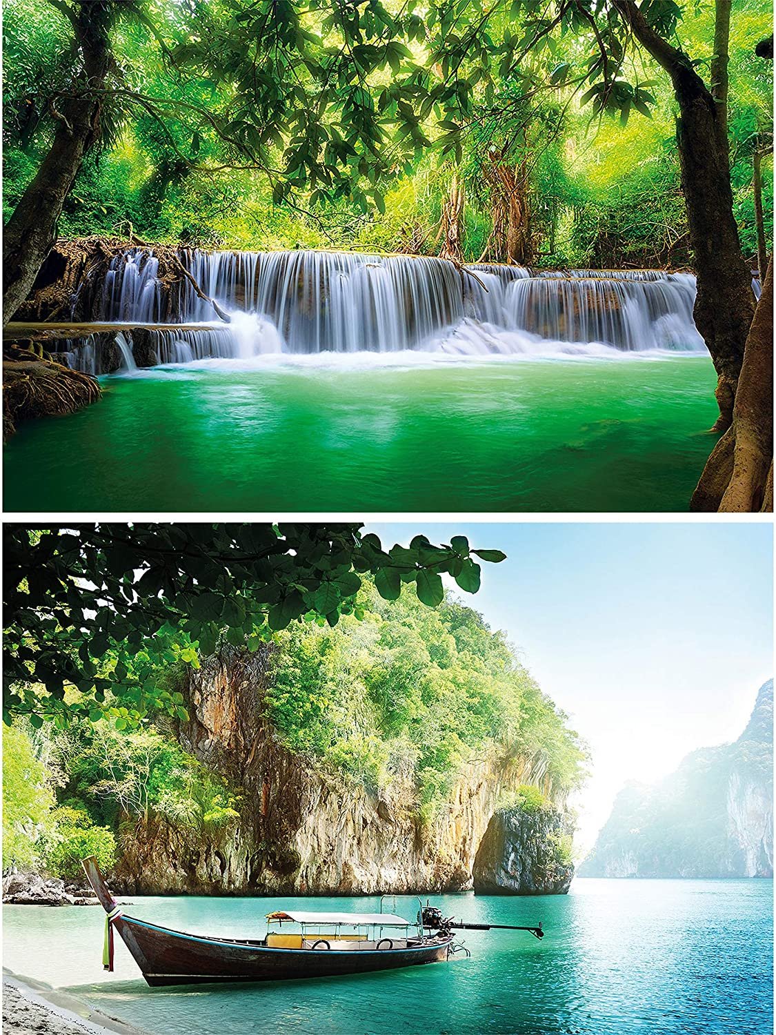 GREAT ART Set of 2 XXL Poster – Waterfall & Bay – Mural Decoration Paradise & Nature Set – Thailand Paradise River Tropical Spa Yoga Picture Wallpaper Photo (55 x 39.4 Inch / 140 x 100 cm)