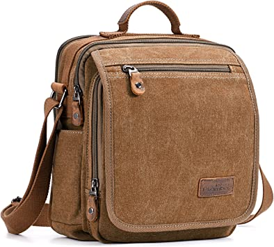 Plambag Canvas Messenger Bag Small Travel School Crossbody Bag Fit iPad Coffee: Amazon.ca: Luggage & Bags
