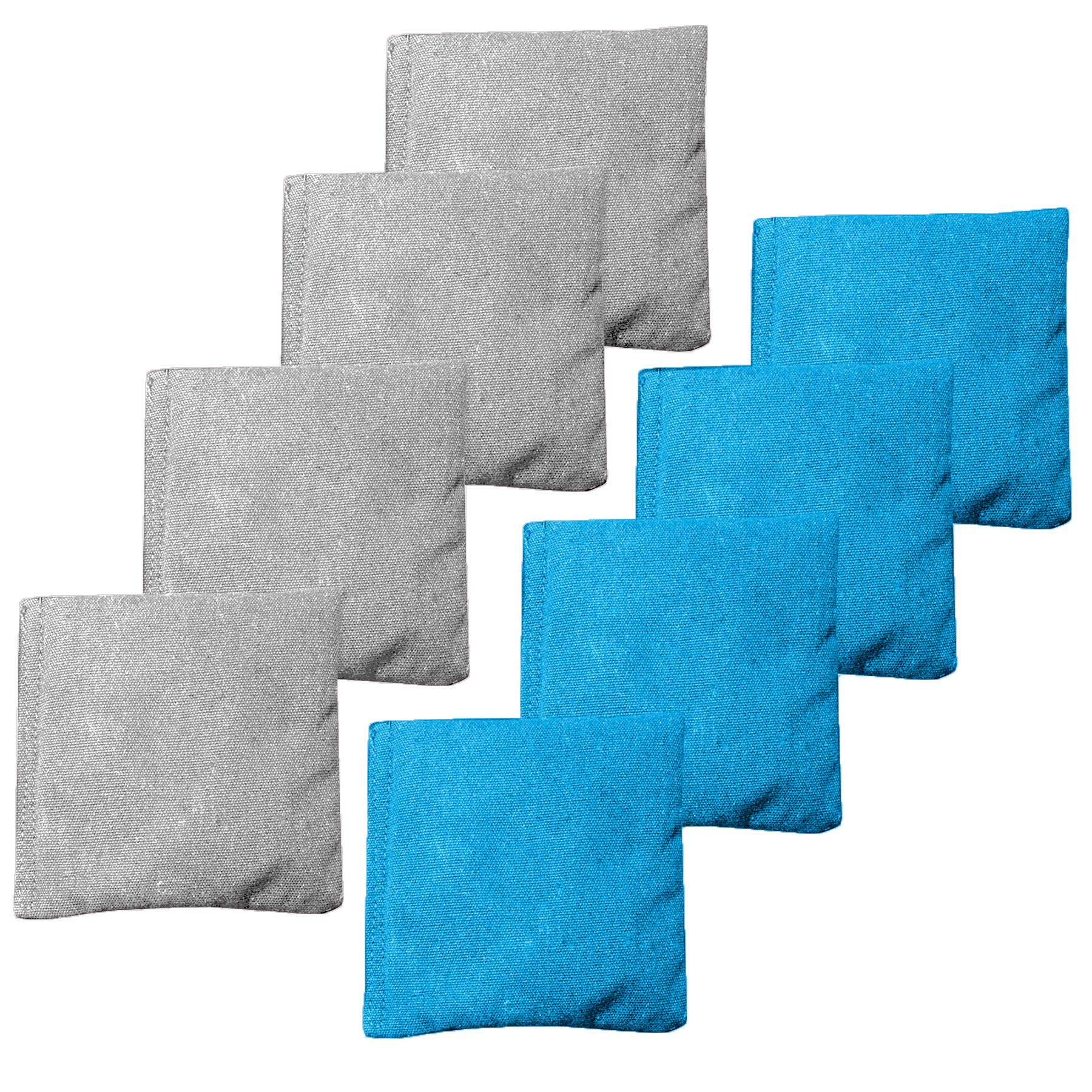 Weather Resistant Cornhole Bean Bags Set of 8 - Regulation Size & Weight - Light Blue & Gray by Play Platoon