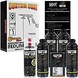 U-Pol Raptor 4 Quart Kit - Black Urethane Spray-On Truck Bed Liner Kit Custom Coat Spray Gun with Regulator - Bonus…