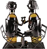 Couple Wine Bottle Holder by Clever Creations | Premium Metal Design Easily Fits 2 Bottles | Decorative Design | Great Gift Basket for Your Favorite Wine | Wide Stable Base |